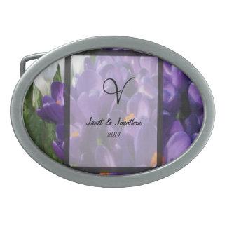 Purple Crocus Flower Monogram Oval Belt Buckle