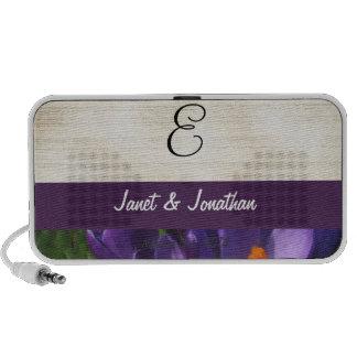 Purple Crocus Flower Monogram iPhone Speakers