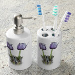 Purple Crocus Flowers Soap Dispenser And Toothbrush Holder