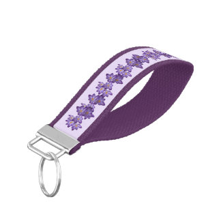 Purple Crocus Flowers Wrist Keychains