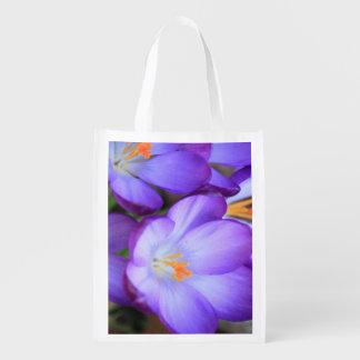 Purple Crocus For FMS Awareness Reusable Grocery Bags