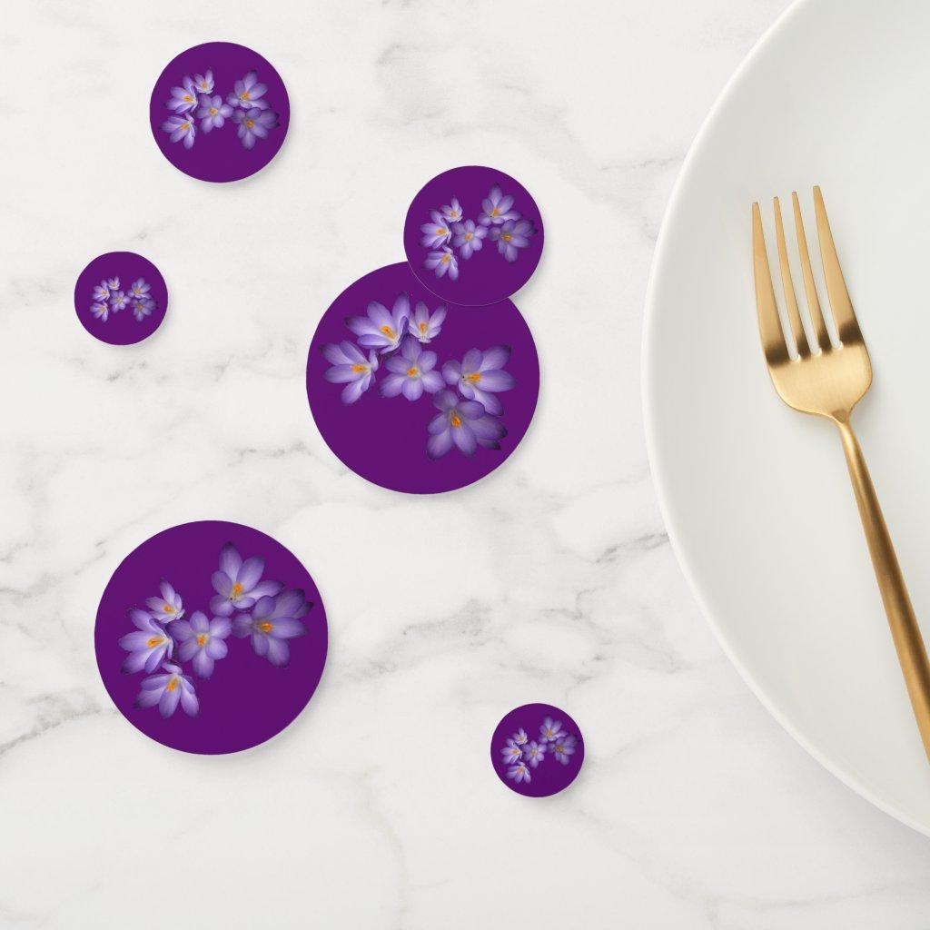 Purple Crocus Garden Flowers Floral Table Confetti