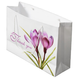 Purple crocus watercolor art thank you gift bag large gift bag