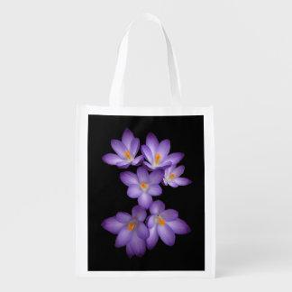 Purple Crocus Grocery Bag