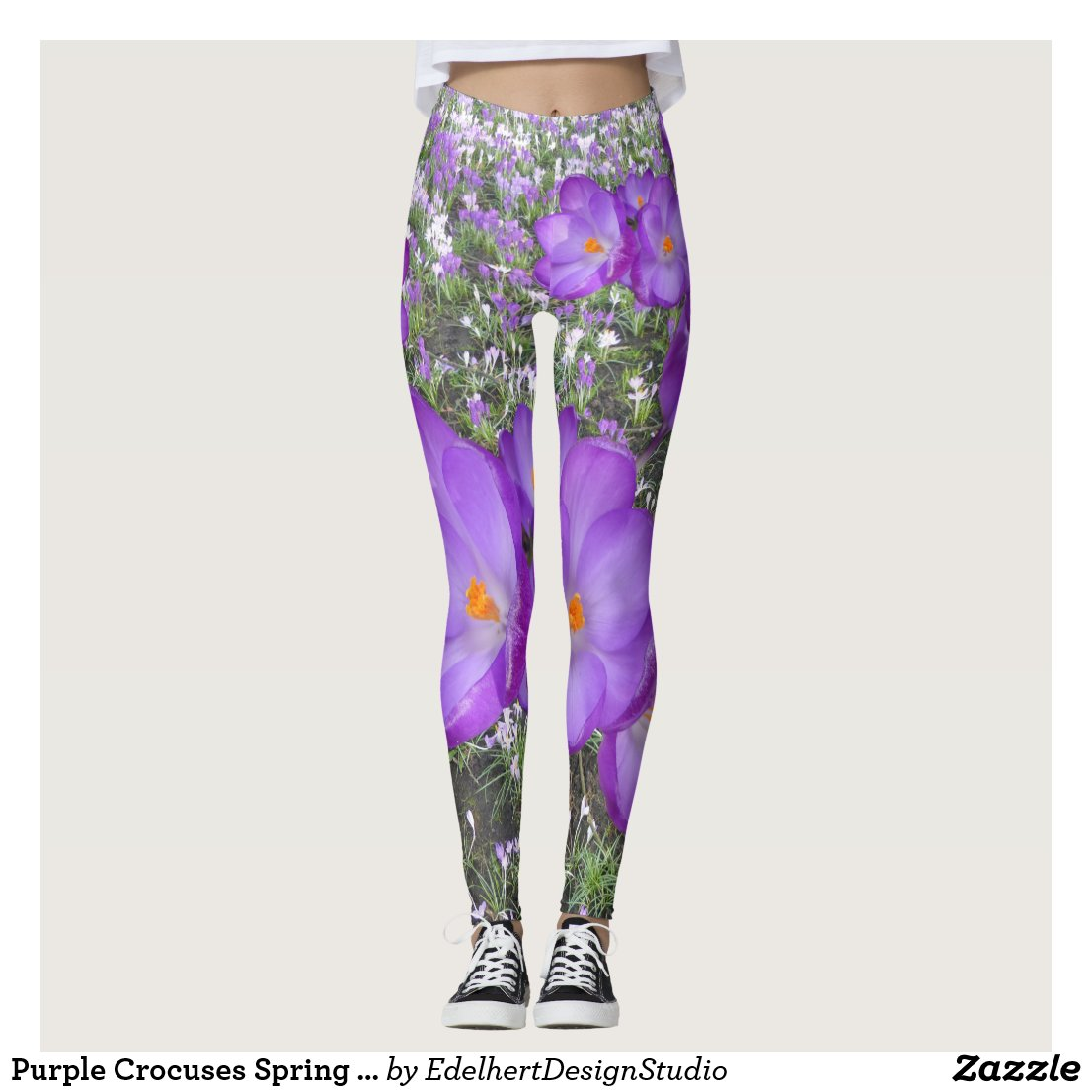 Purple Crocuses Spring Flowers Leggings
