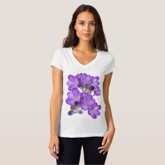 Purple Crocuses Spring Flowers V-neck T-shirt