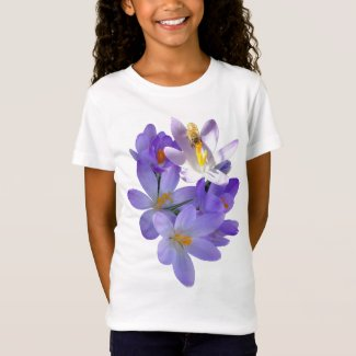Purple Crocuses with Bee Girls T-Shirt