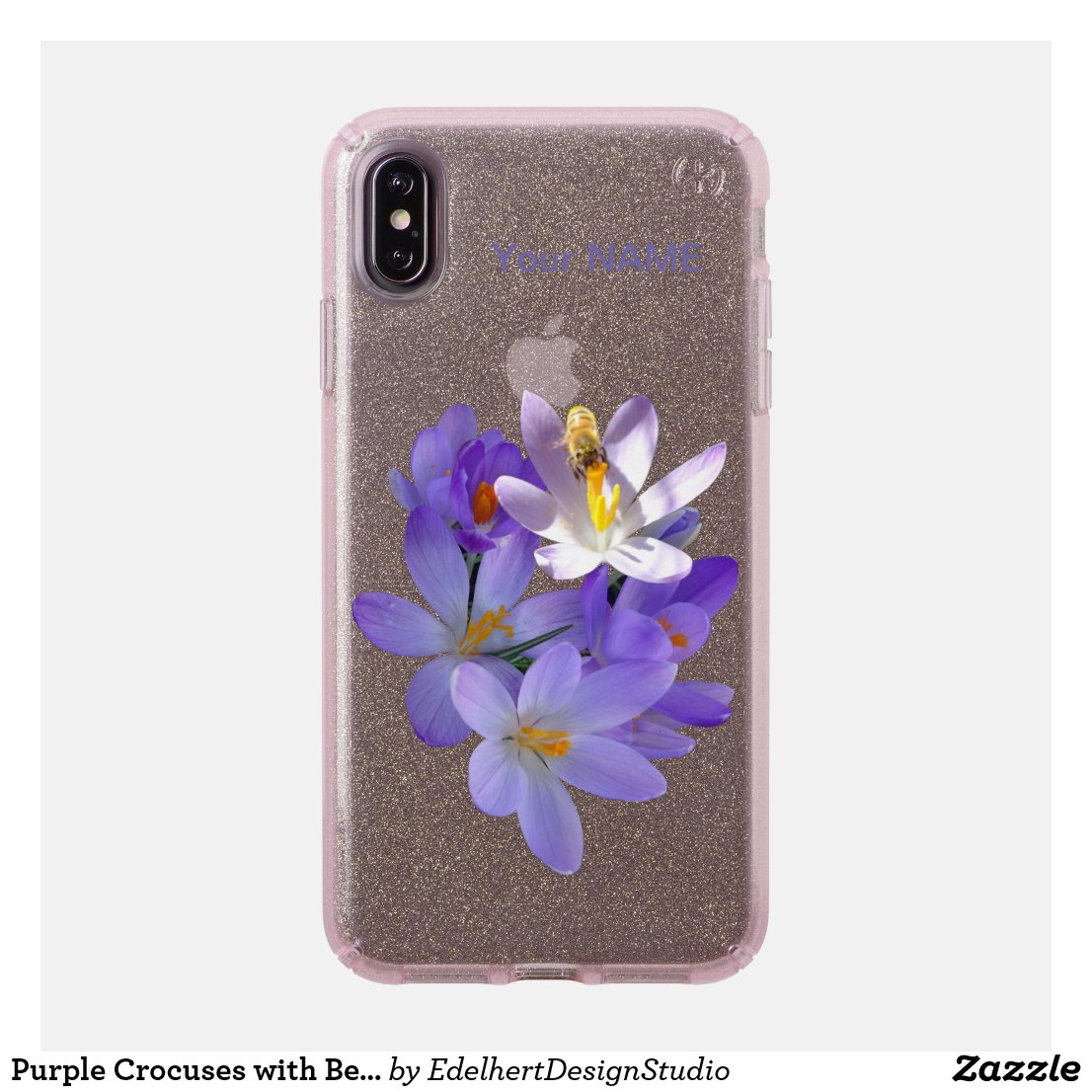 Purple Crocuses with Bee Glitter Speck Phone Case