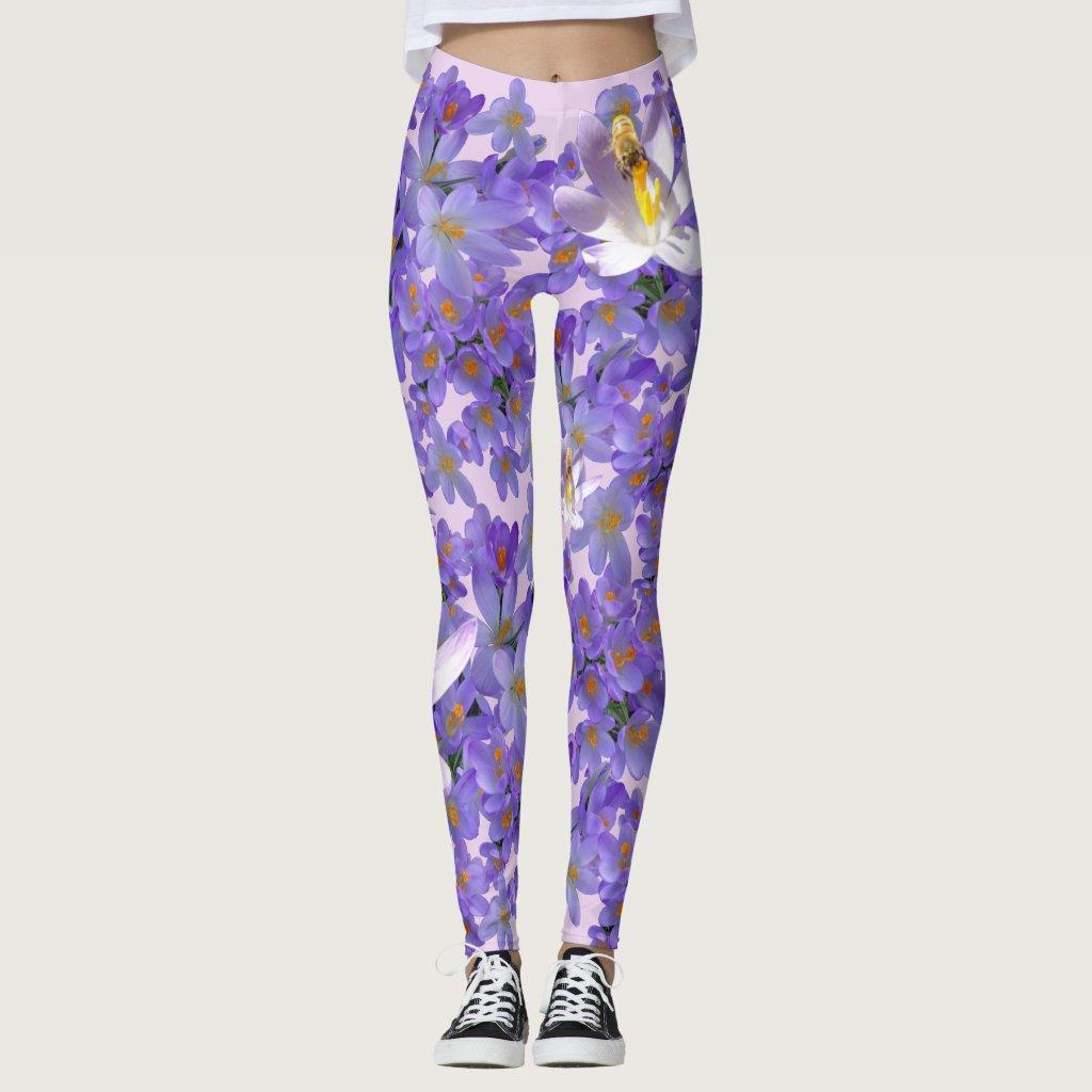Purple Crocuses with Bees Legging