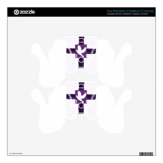 Purple Cross And White Dove Skins For PS3 Controllers