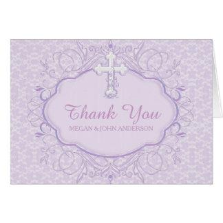 Purple Cross Baptism Christening Thank You Card