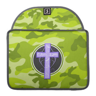 Purple Cross; bright green camo, camouflage MacBook Pro Sleeves