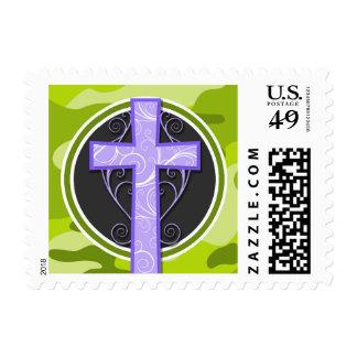 Purple Cross; bright green camo, camouflage Postage