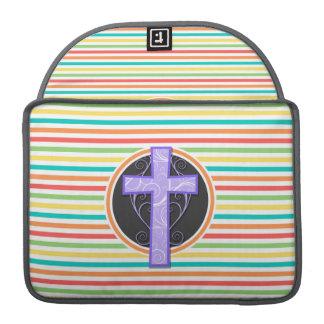 Purple Cross; Bright Rainbow Stripes Sleeves For MacBook Pro