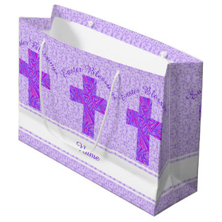 Religious easter gift bags zazzle purple cross christian symbol faith easter large gift bag negle Images