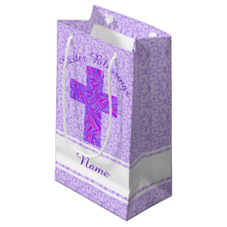 Religious easter gift bags zazzle purple cross christian symbol faith easter small gift bag negle Image collections