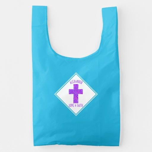 Purple Cross Christian Symbol Faith Religion Reusable Bag