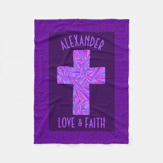 Purple Cross Christian Symbol Faith Religion Fleece Blanket