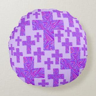 Purple Cross Christian Symbol Faith Religion Round Pillow