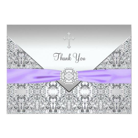 Purple Cross Elegant Christian Thank You Card