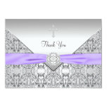 Purple Cross Elegant Christian Thank You Card Personalized Invitation