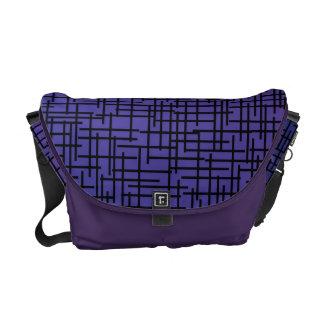 Purple Cross Hatchings Messenger Bags