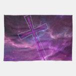 Purple Cross in Purple skies. Hand Towels