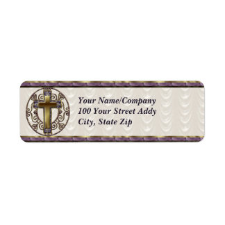 Purple Cross Return Address Label