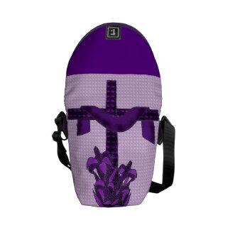 Purple Cross Messenger Bag