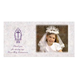 Purple Cross Religious Thank You Photo Card