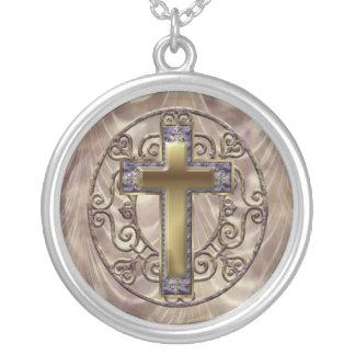 Purple Cross Round Pendant Necklace