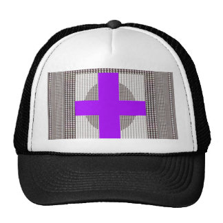 Purple Cross Sparkle White Crystal Beads Gifts Trucker Hat