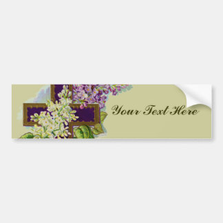 Purple Cross With Flowers Bumper Sticker