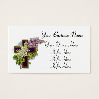 Purple Cross With Flowers Business Card