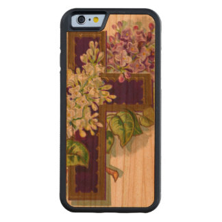 Purple Cross With Flowers Carved Cherry iPhone 6 Bumper Case