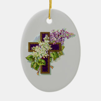 Purple Cross With Flowers Ceramic Ornament