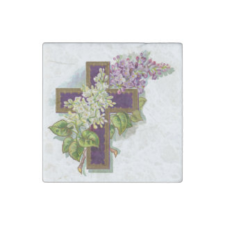 Purple Cross With Flowers Stone Magnet