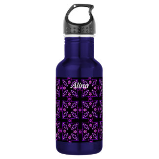 Purple Crosses and Beads Kaleidoscope Personalized 18oz Water Bottle