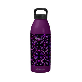 Purple Crosses and Beads Kaleidoscope Personalized Reusable Water Bottle