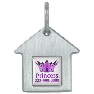 Purple Crown Pet Name Tag