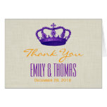 PURPLE Crown Thank You Bride Groom Wedding W02 Greeting Card