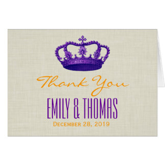 PURPLE Crown Thank You Bride Groom Wedding W02 Card