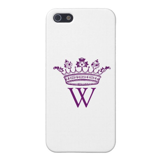 Purple Crown with Monogram Cover For iPhone SE/5/5s