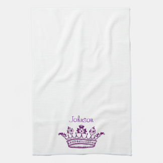 Purple Crown Your Text Hand Towels