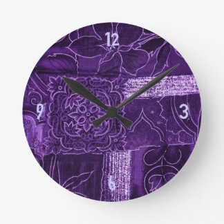 Purple Crushed Velvet Look Wall Clocks