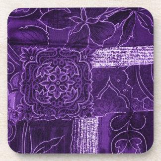 """Purple """"Crushed Velvet"""" Look Beverage Coasters"""