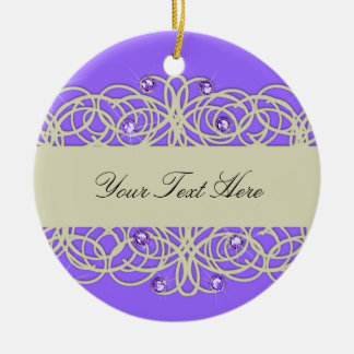 Purple Crystal and Lace Christmas Ornament
