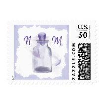Purple Crystal bottle wedding monogram stamp