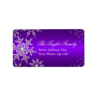 Purple Crystal Snowflake Christmas Address Labels