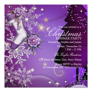 """Purple Crystal Snowflake Christmas Dinner Party 4 5.25"""" Square Invitation Card"""